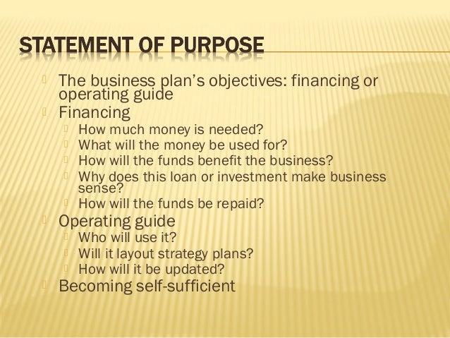 business plan statement of purpose sample
