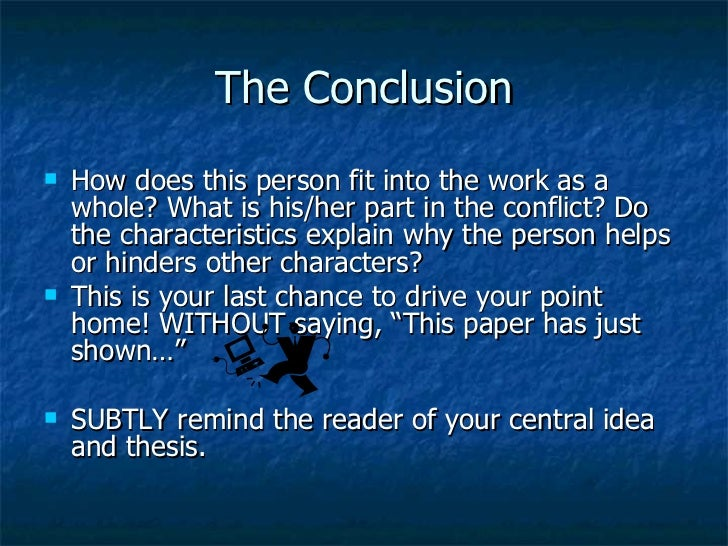 character essay conclusion