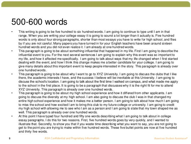 example of 500 word essay Discuss why assignment essays are common assessment tasks in undergraduate tertiary coursework, and evaluate the effectiveness of assignments as an avenue for learning (word limit 500 words – 10% leeway) please note that the apa referencing style is used in this sample essay introduction assignment essays are.