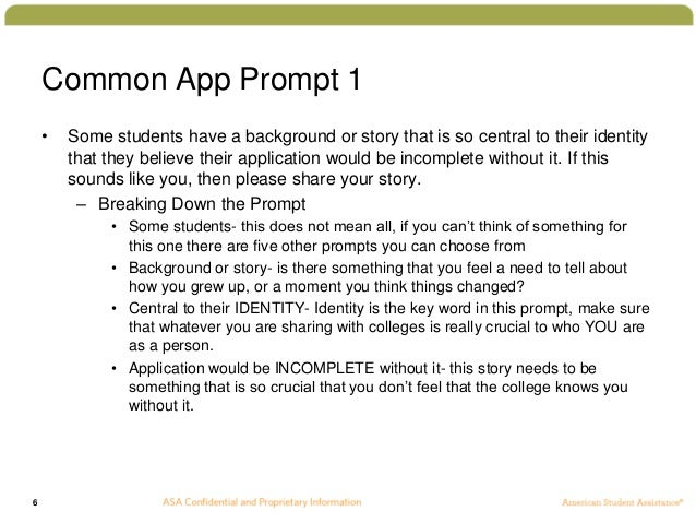 Common app essay examples prompt 6