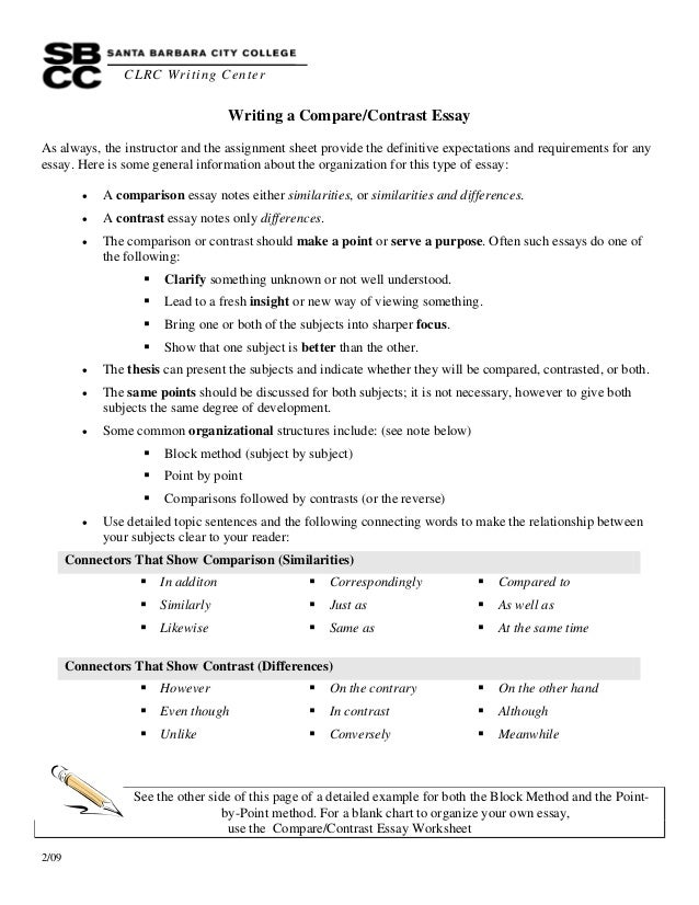 writinga comparecontrastessay clrc writing center 2 09 writing a compare contrast essay as always
