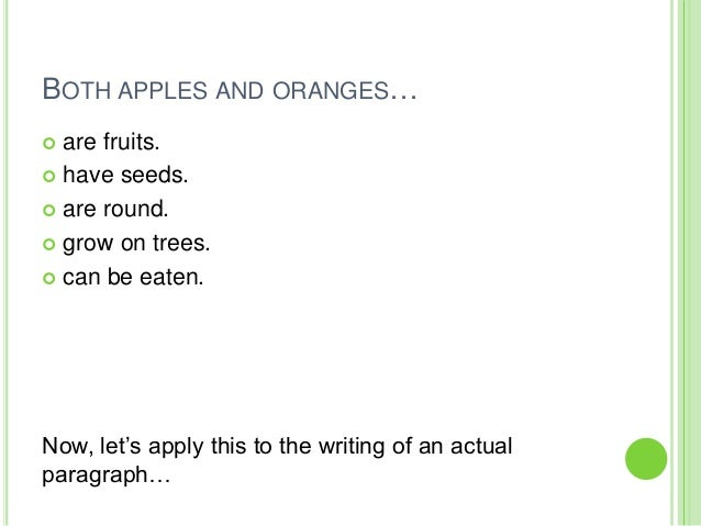 Compare apples and oranges essay