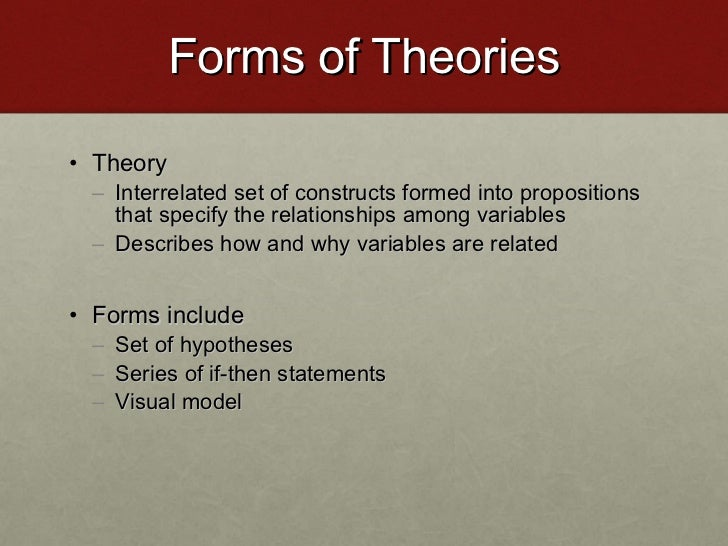 Forms of Theories <ul><li>Theory </li></ul><ul><ul><li>Interrelated set of constructs formed into propositions that specif...