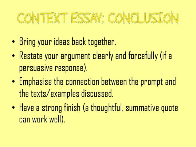 Context writing essay