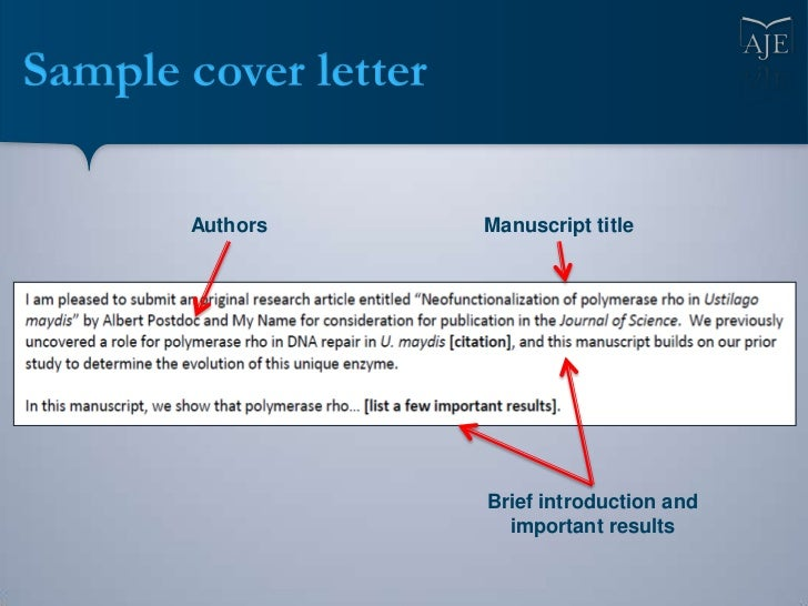 Cover Letter Journal Manuscript Submission Sample - Submission Process