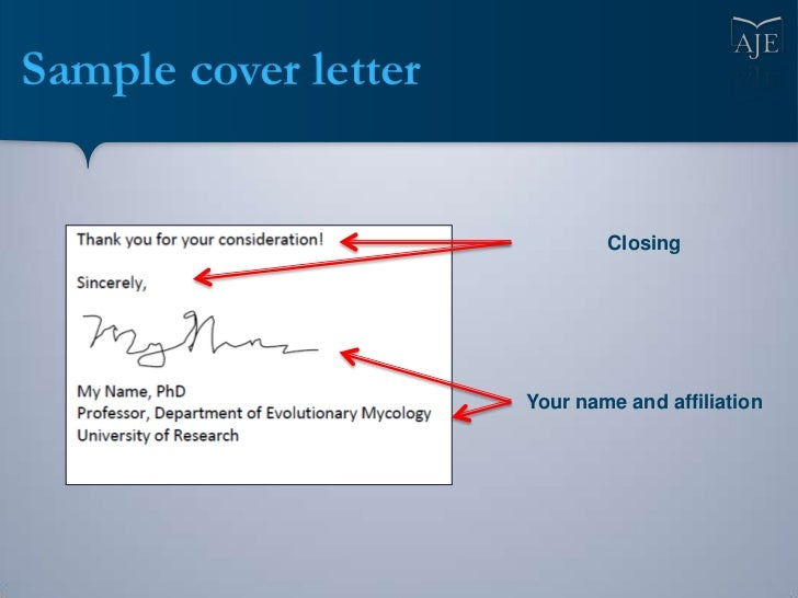 Sample Cover Letter Closing Your Name And Affiliation ...