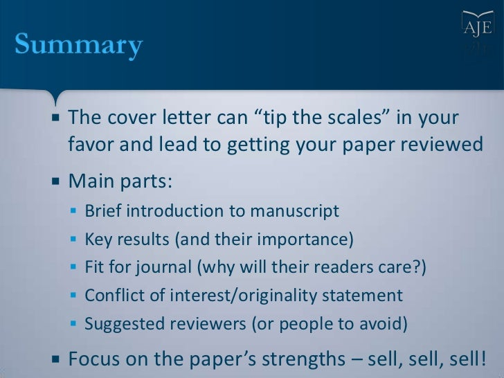 writing a cover letter for your scientific manuscript