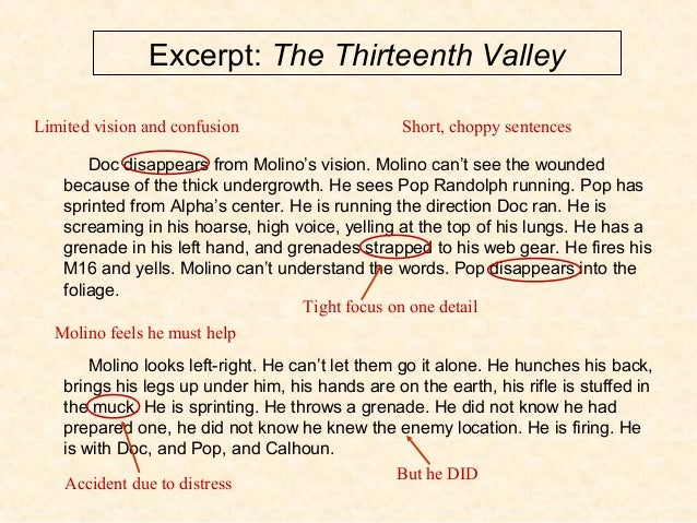 Excerpt: The Thirteenth Valley Doc disappears from Molino's vision. Molino can't see the wounded because of the thick unde...