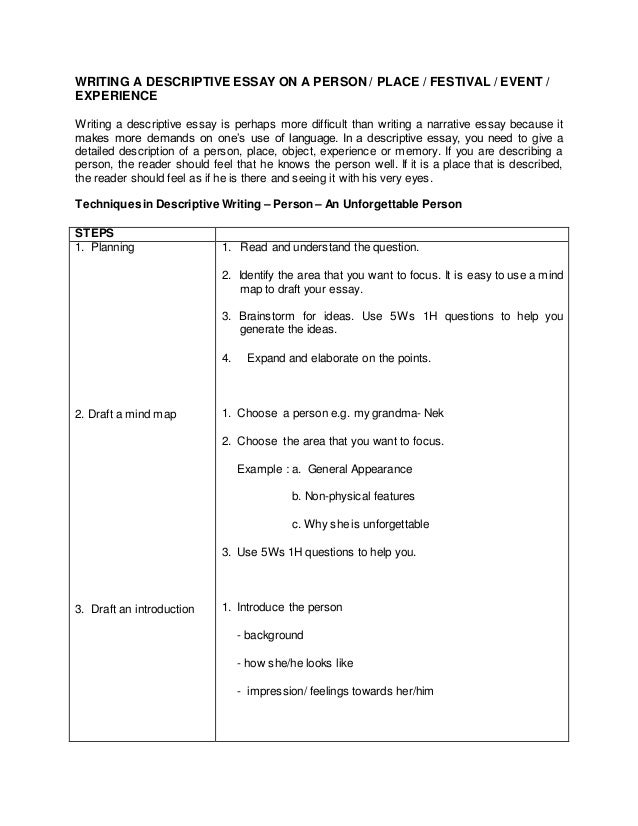 writing a descriptive essay about a person Need to write a descriptive essay about my mother you have come to the right place a descriptive essay is a special type of essay that describes a person, place.