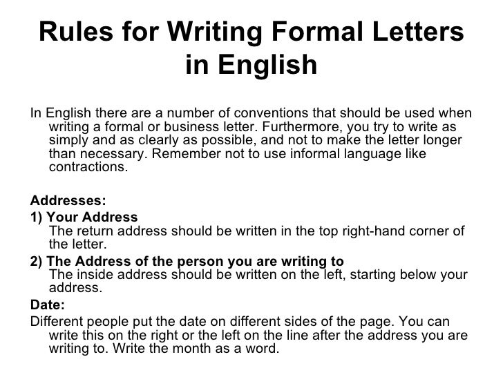 Writing a formal letter 2 rules for writing formal letters altavistaventures Choice Image