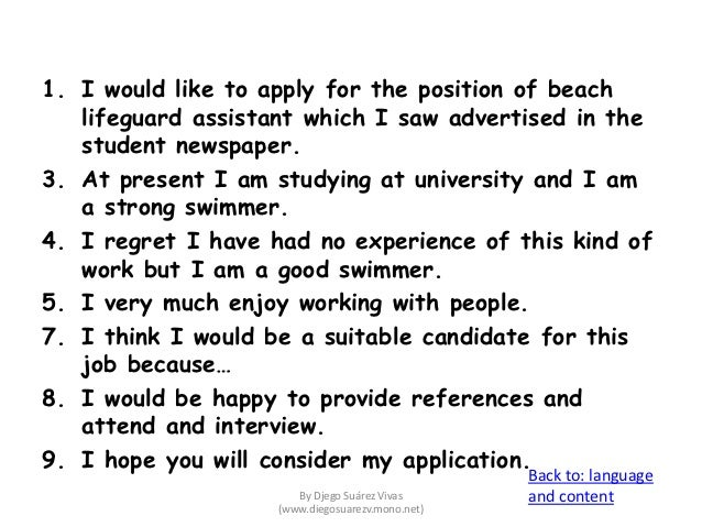 letter of application for a job