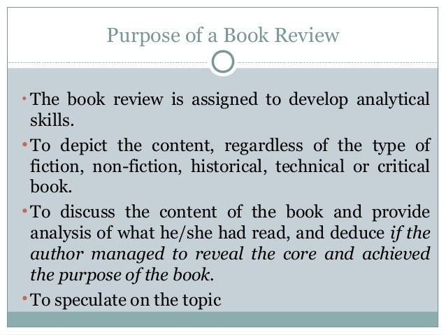 Purpose of book review