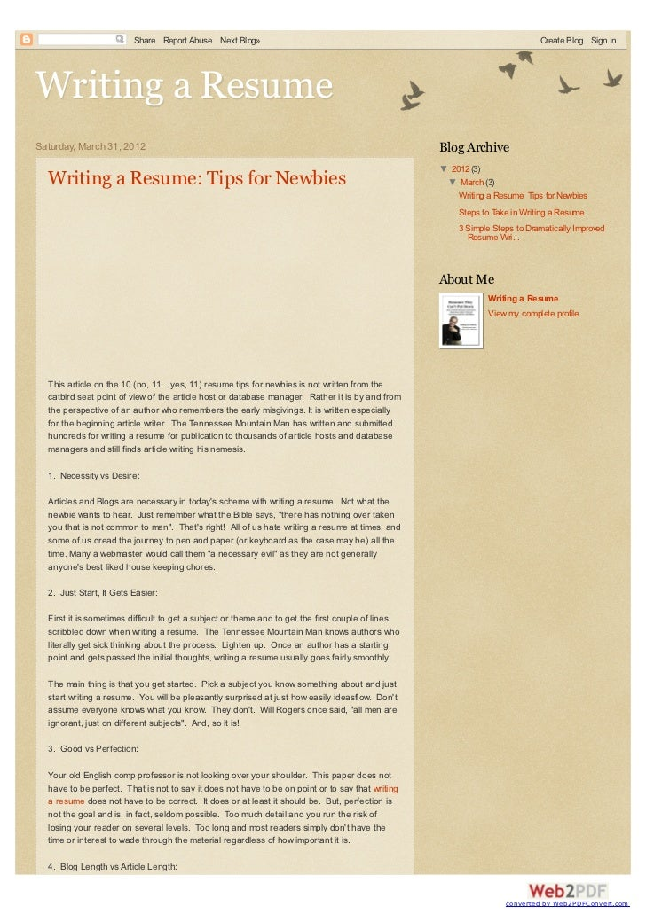 facts on writing a resume for beginners
