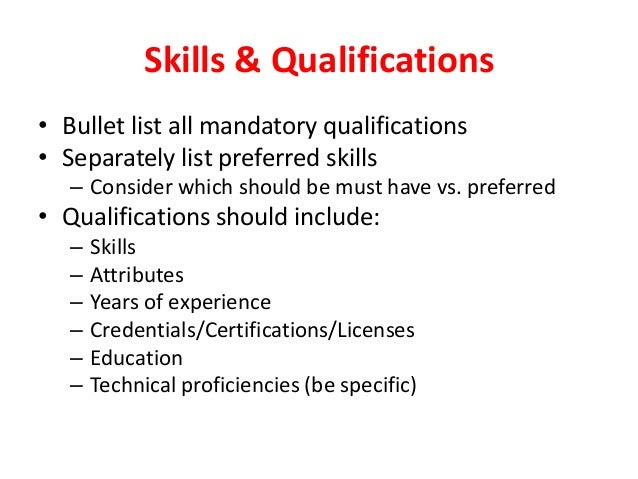 qualifications for position