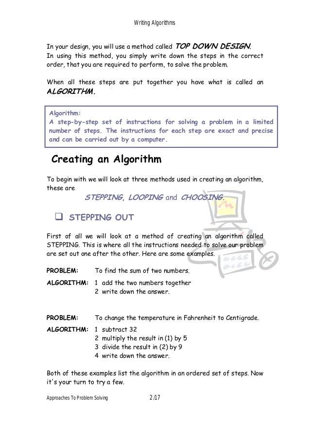 writing algorithms for beginners