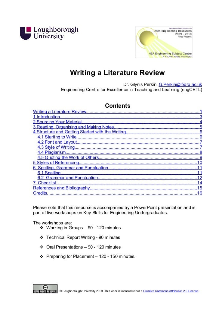 Writing a Literature Review                                                     Dr. Glynis Perkin, G.Perkin@lboro.ac.uk   ...