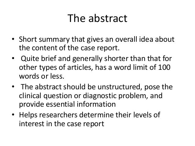 how to write an abstract case