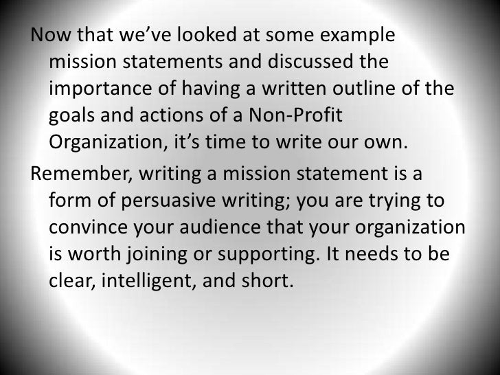 Writing A Mission Statement