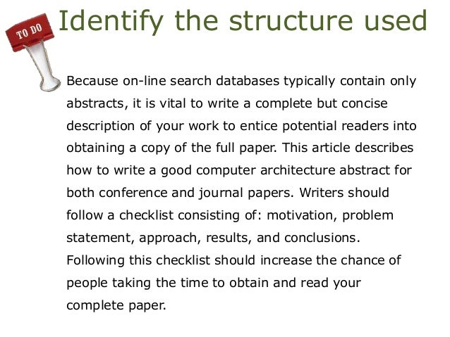 how to write an abstract for a conference