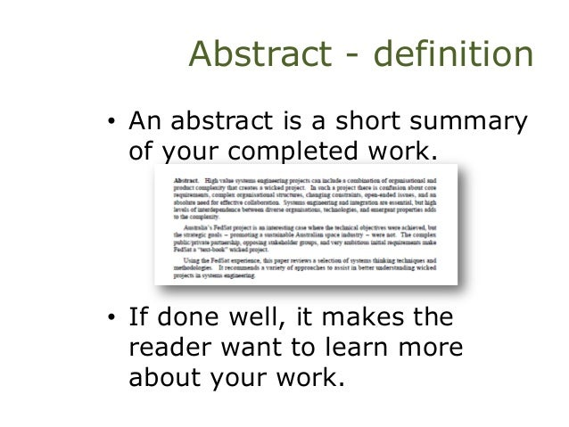 define an abstract term essay