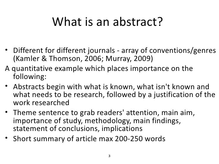 How To Write A Quality Abstract For Publication or Presentation