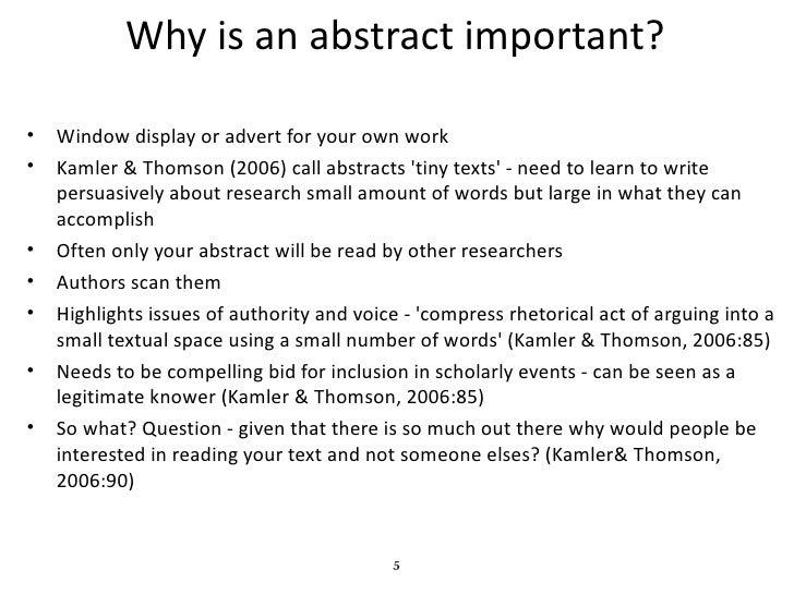 Writing an abstract presentation
