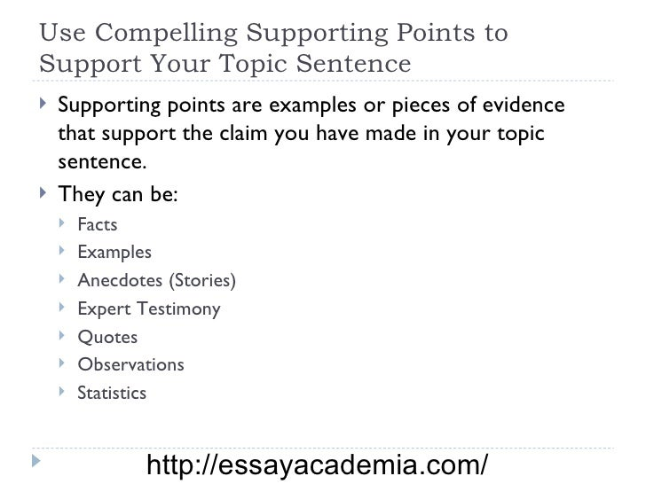 Supporting points in an essay