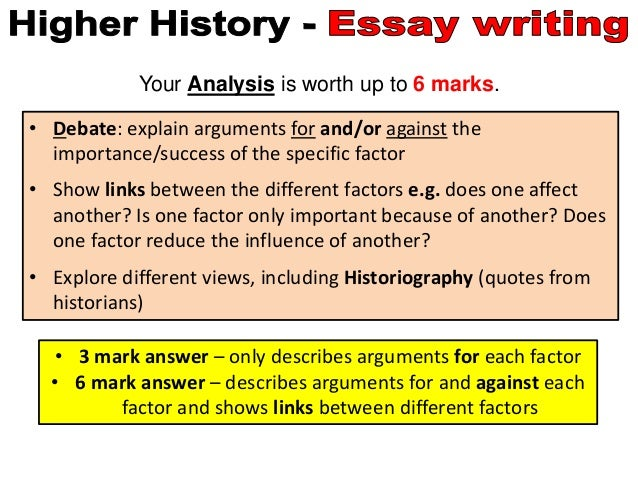 sqa higher history essays Essay skills nbsp new higher history: britain amp scotland and germany: hodder education this title has been written specifically to cover the paper 1 content of the revised higher history course it provides comprehensive coverage of nbsp sqa – higher history learn to explain and analyse historical events and draw reasoned conclusions.