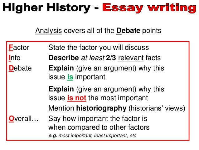 higher history essays writing analysis points