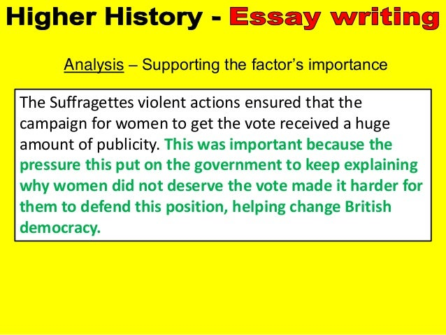 higher history democracy why essay A bbc bitesize secondary school revision resource for standard grade history on the growth of democracy: social and political change, labour party, socialism, world war i.