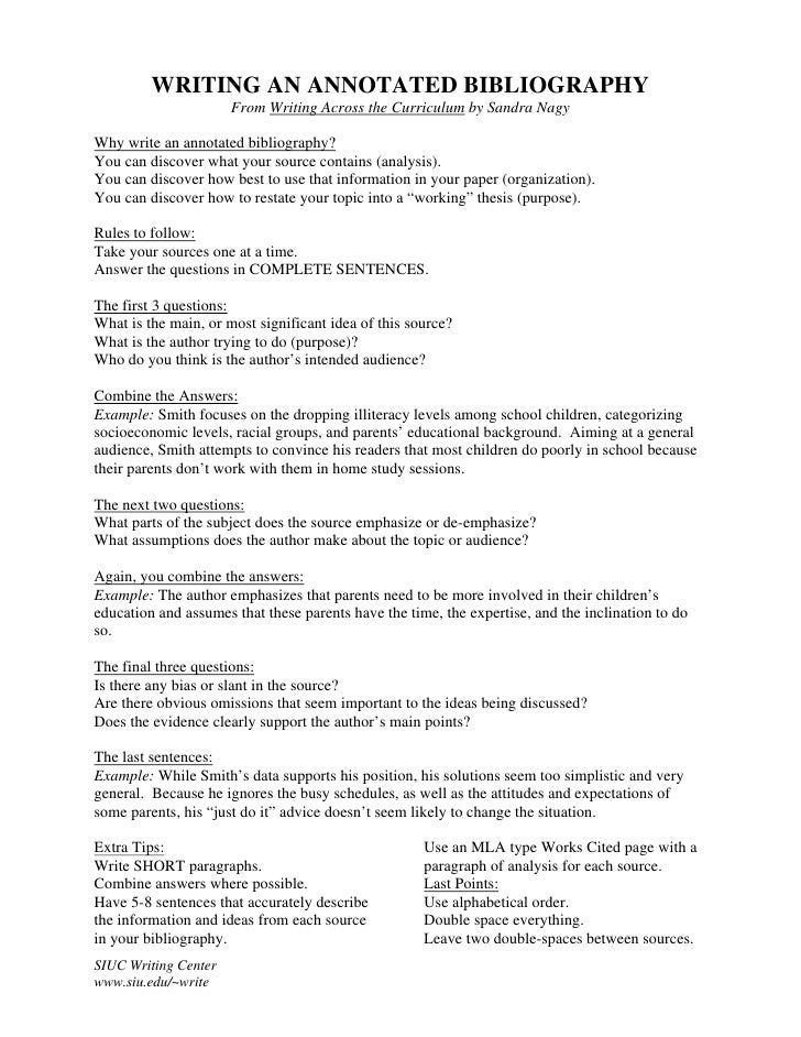 writing an annotated bibliography writing an annotated bibliography from writing across the curriculum by sandra nagywhy