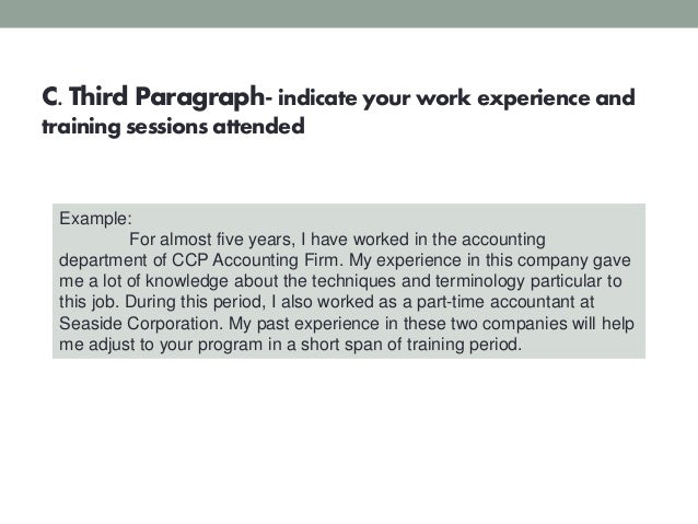 18 c third paragraph indicate your work experience