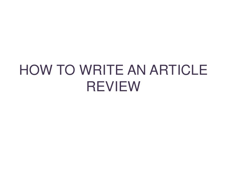 How to write an apa article review