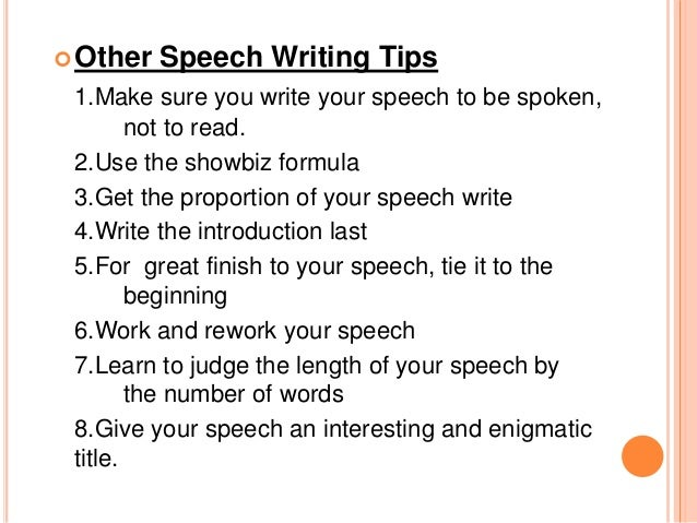 Speech writing and preparation