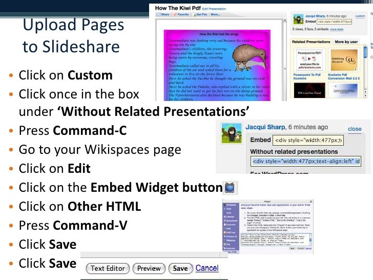 Upload Pages to Slideshare<br />Click on Custom<br />Click once in the box under 'Without Related Presentations'<br />Pres...