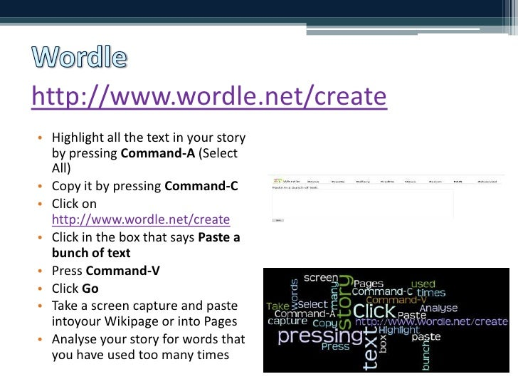 http://www.wordle.net/create<br />Highlight all the text in your story by pressing Command-A (Select All)<br />Copy it by ...