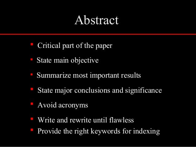 what is an abstract part of research paper