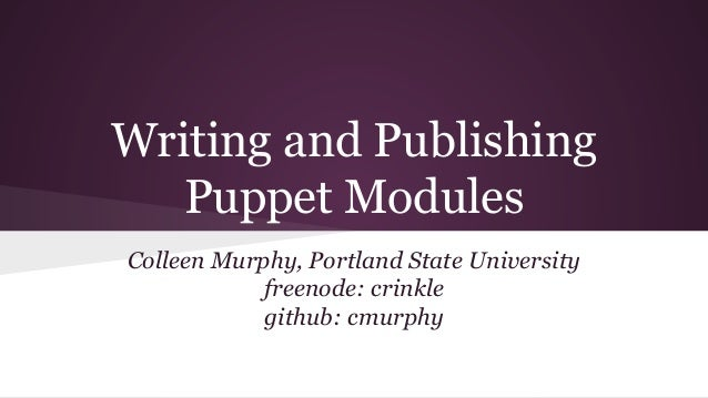 how to write a puppet module