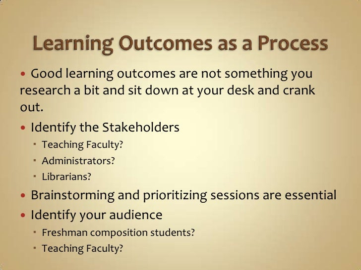 writing learning outcomes Learning outcomes for 101  download pdf of full learning outcomes for 101 the illinois state university writing program has developed these learning outcomes to explain to students what they can expect to learn when they take eng 101 at illinois state.