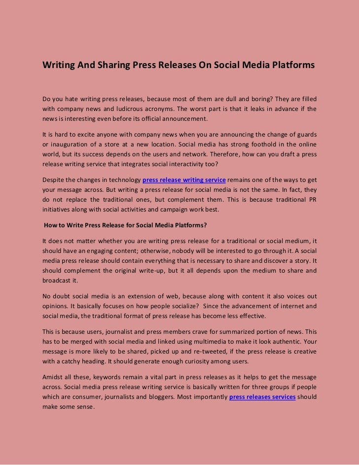 Writing And Sharing Press Releases On Social Media PlatformsDo you hate writing press releases, because most of them are d...