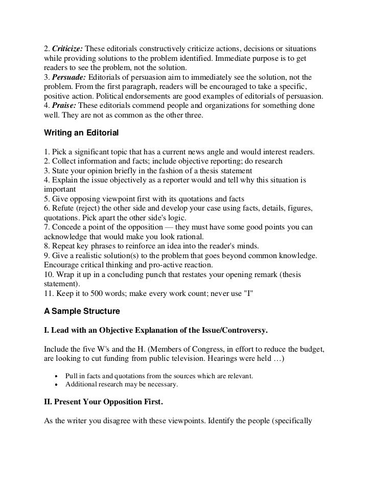 how to write an editorial essay structure