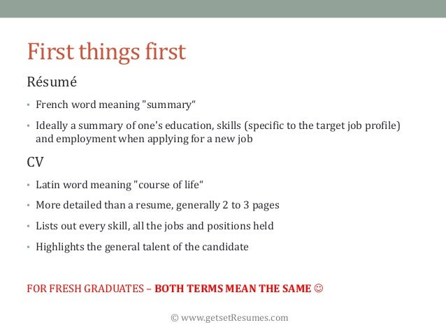 meaning of resume in job application