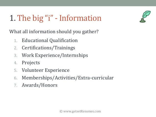 """© www.getsetResumes.com 1. The big """"i"""" - Information What all information should you gather? 1. Educational Qualification ..."""