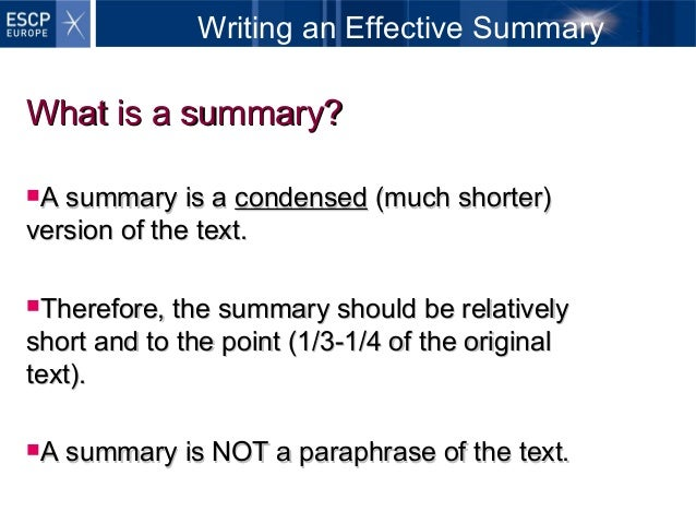writing an effective summary