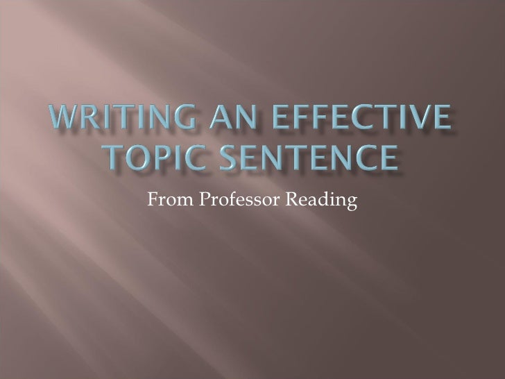 Writing An Effective Topic