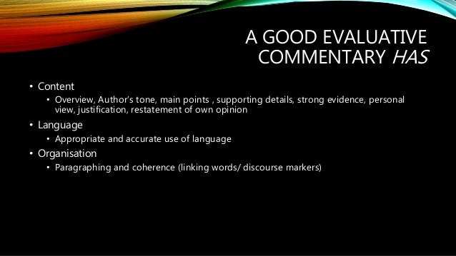 How To Write A Good Essay For High School  Commentary And Start Writing  Healthy Eating Essays also Thesis Statements For Persuasive Essays Writing An Evaluative Commentary Argumentative Essay Thesis Example