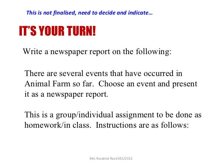 This is not finalised, need to decide and indicate…IT'S YOUR TURN!Write a newspaper report on the following: There are sev...