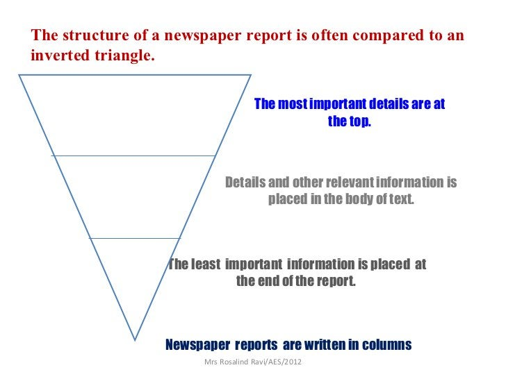 The structure of a newspaper report is often compared to aninverted triangle.                                     The most...