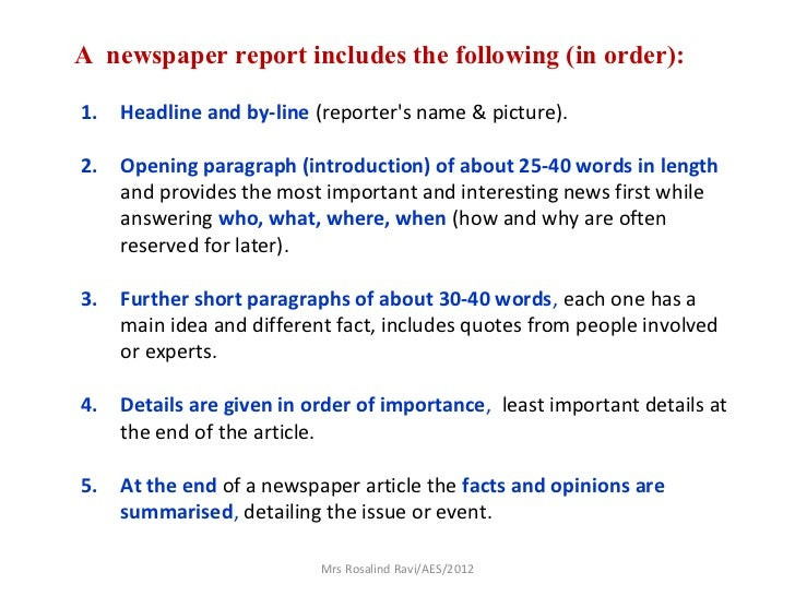 How to write a newspaper report ks2