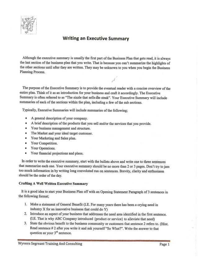 How to write an executive summary for a business plan example